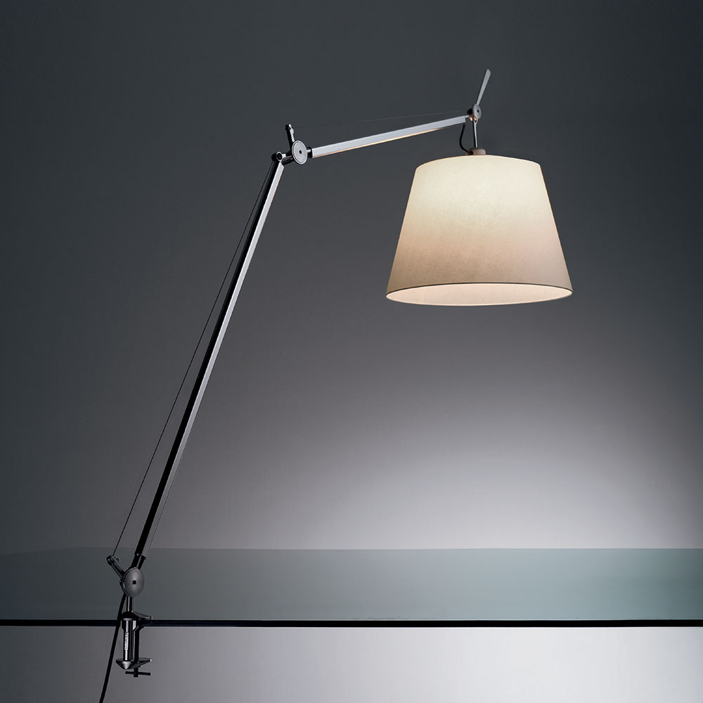"TOLOMEO MEGA MAX 100W E26 DIM ALUM W/14"" DIFF PARCH & TABLE CLAMP"
