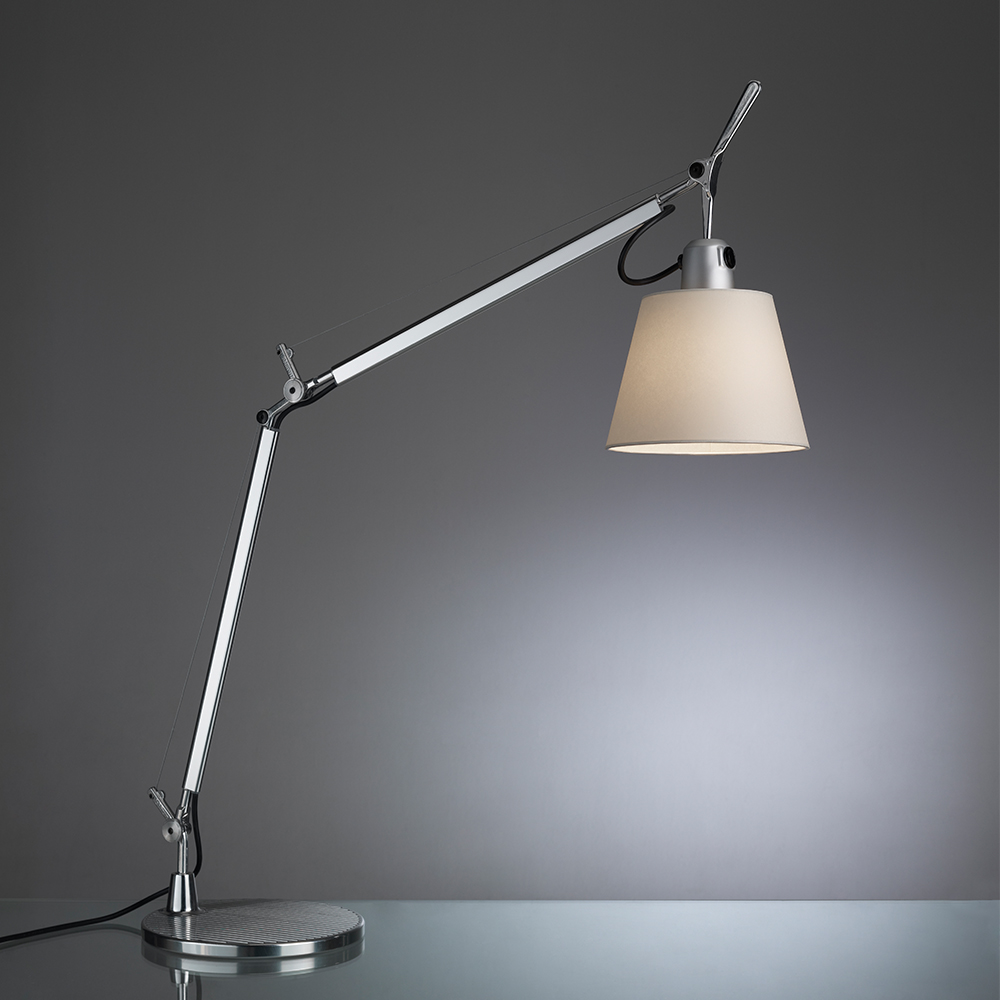TOLOMEO WITH SHADE MAX 75W E26 ALUM/PARCHMENT W/BASE