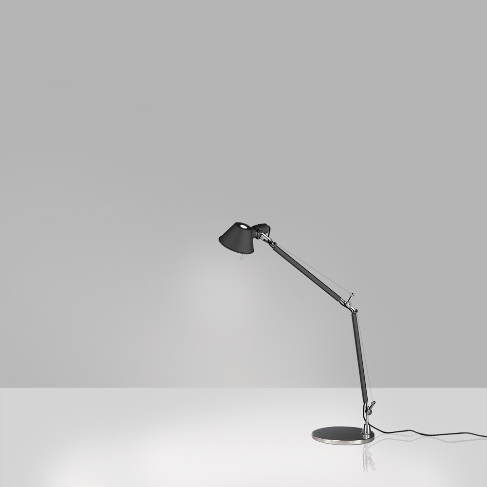 TOLOMEO MINI MAX 100W E26 BLACK W/BASE ALUM