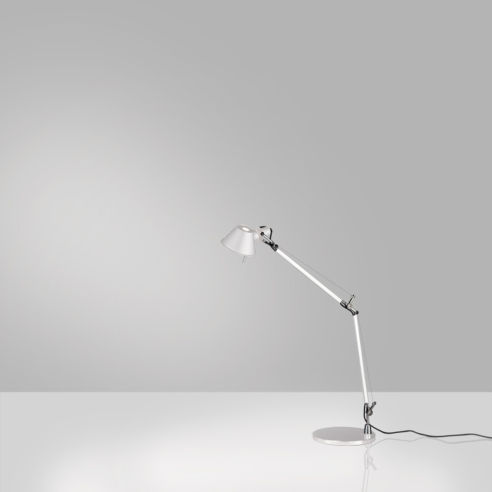 TOLOMEO MINI MAX 100W E26 WHITE W/BASE ALUM