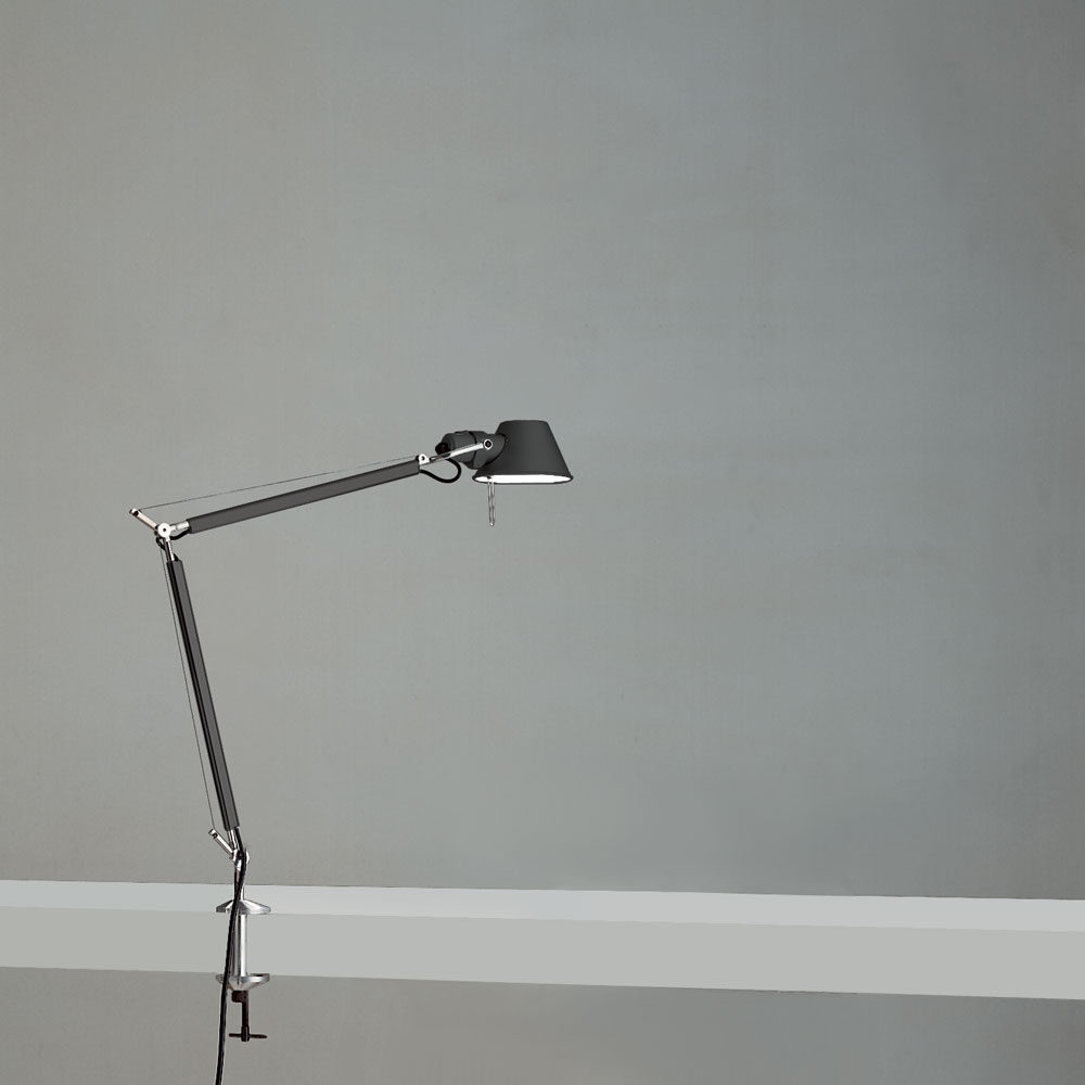 TOLOMEO MINI MAX 100W E26 BLACK W/CLAMP ALUM
