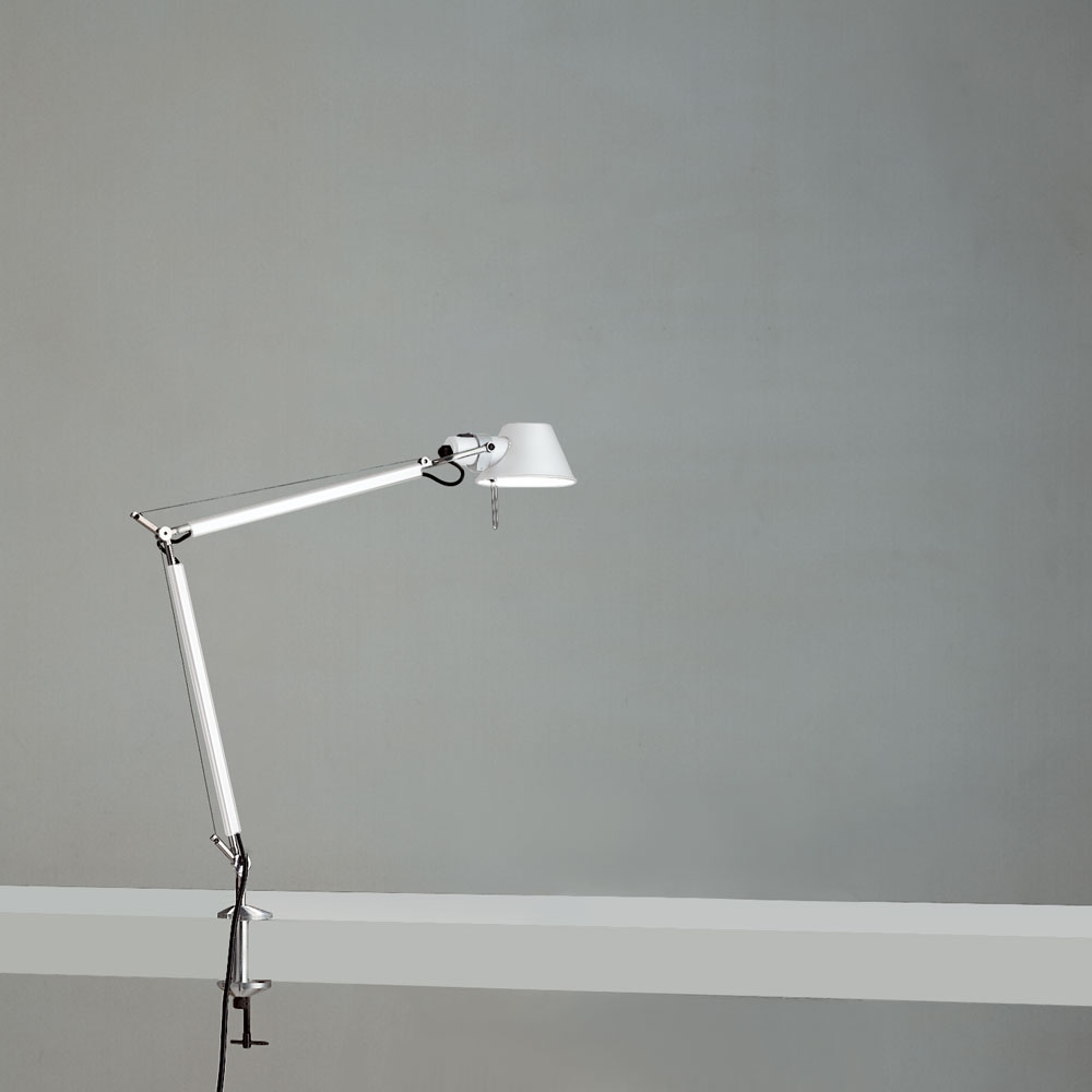 TOLOMEO MINI MAX 100W E26 WHITE W/CLAMP ALUM