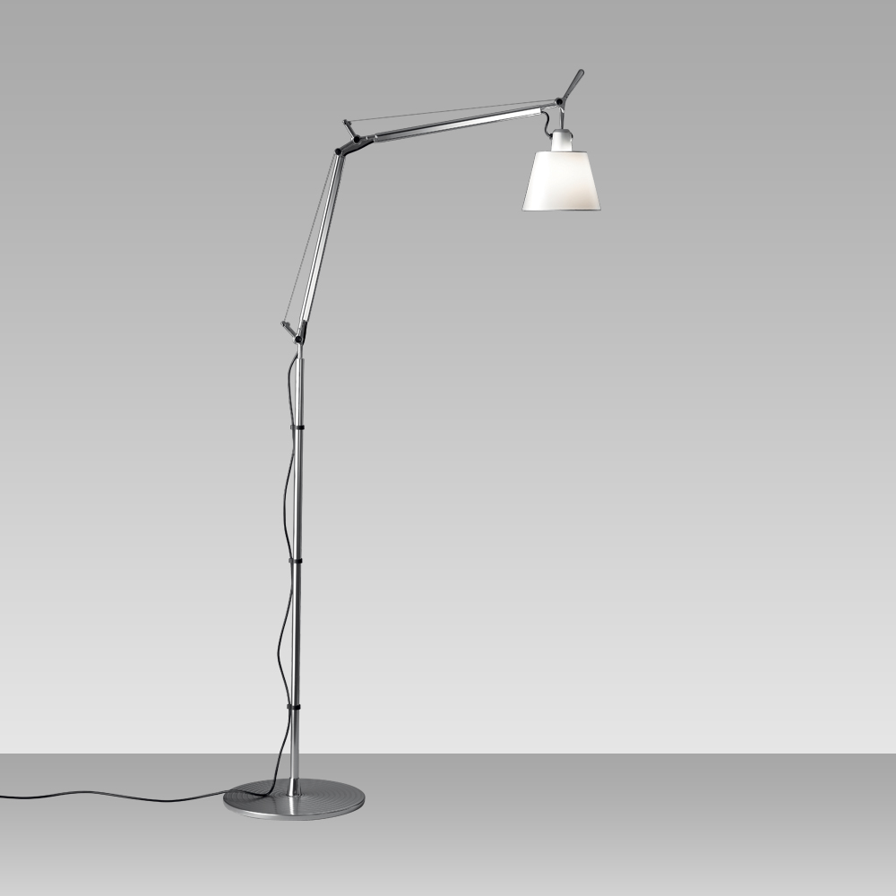 TOLOMEO WITH SHADE MAX 75W E26 ALUM/PARCHMENT W/FLOOR SUPPORT
