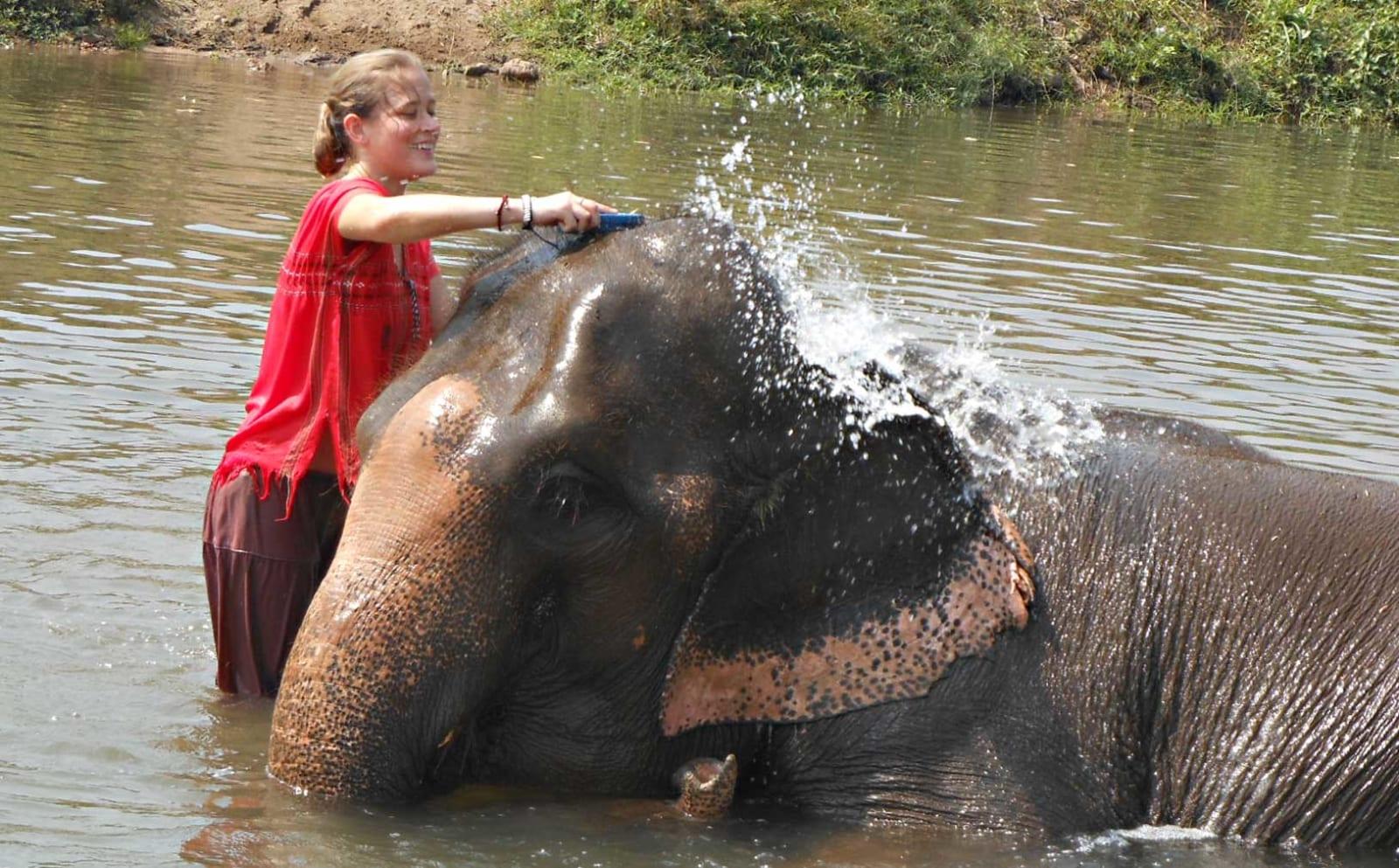 Southwestern University student and elephant