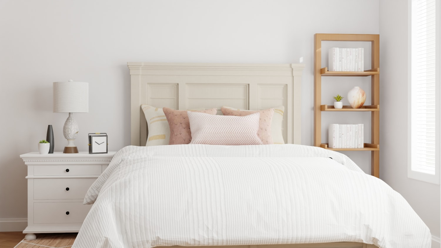 Blush Accents Modern Farmhouse Bedroom