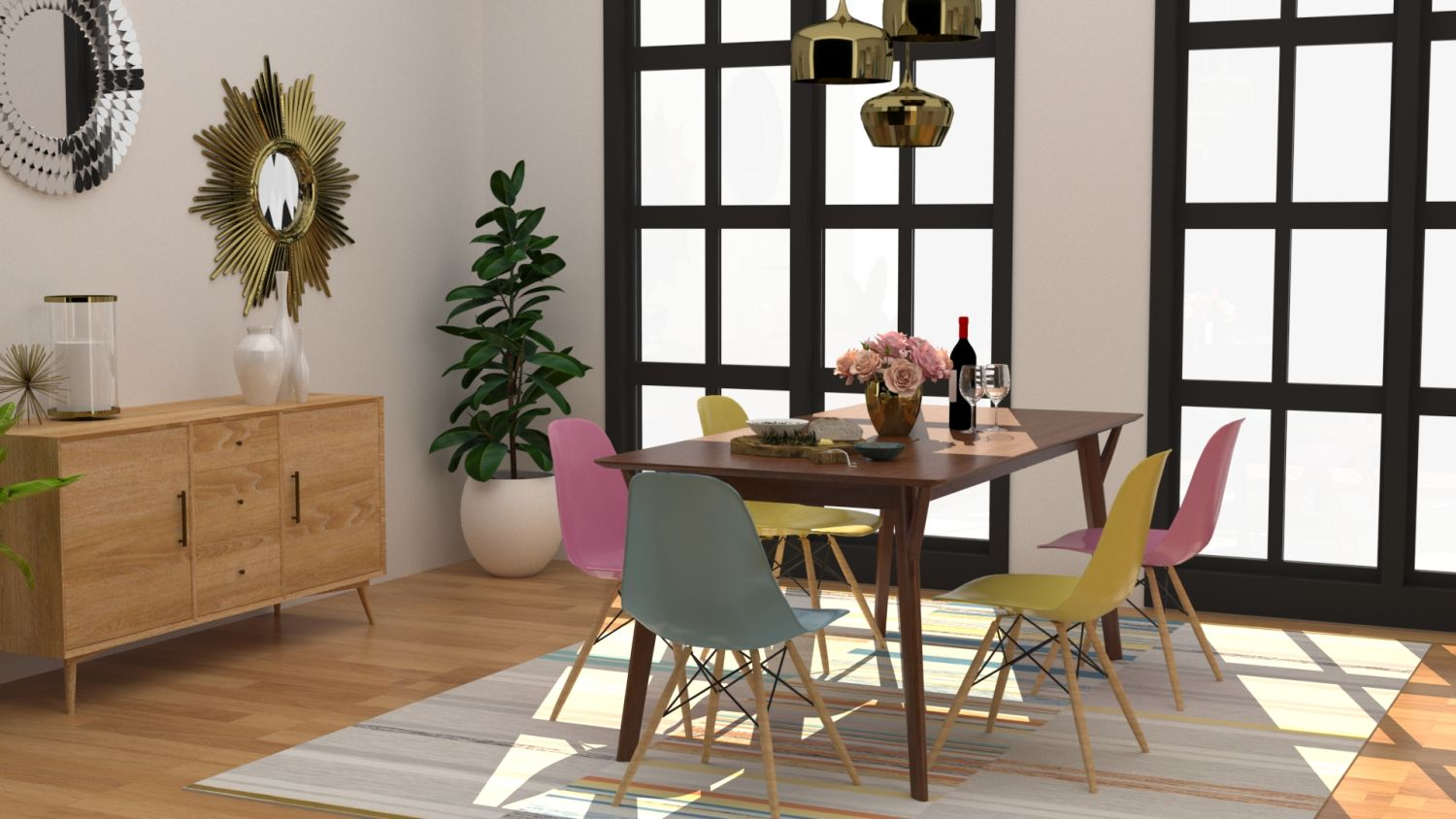 Dining room with mis matched chair in art deco meets mid century modern style