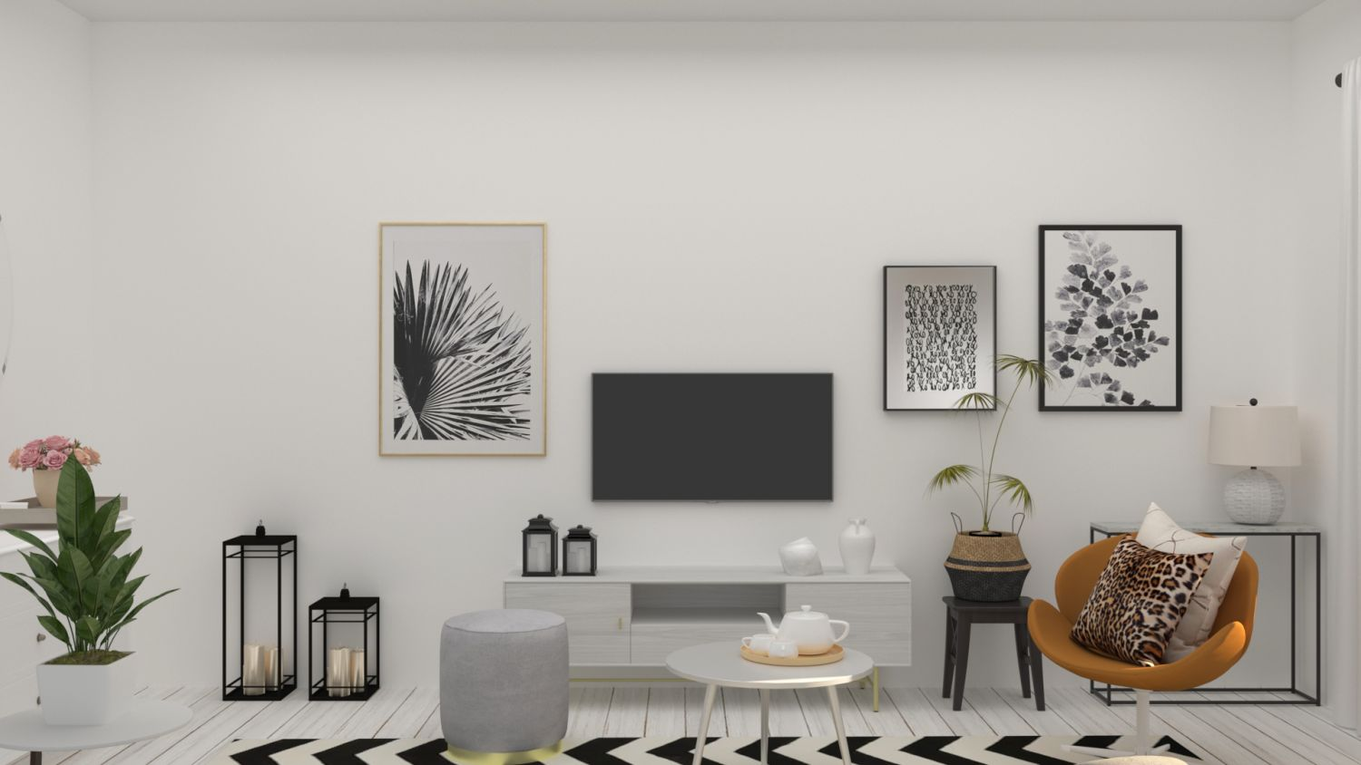 Styling Around Media Console: Modern Glam Living Room Design By Spacejoy