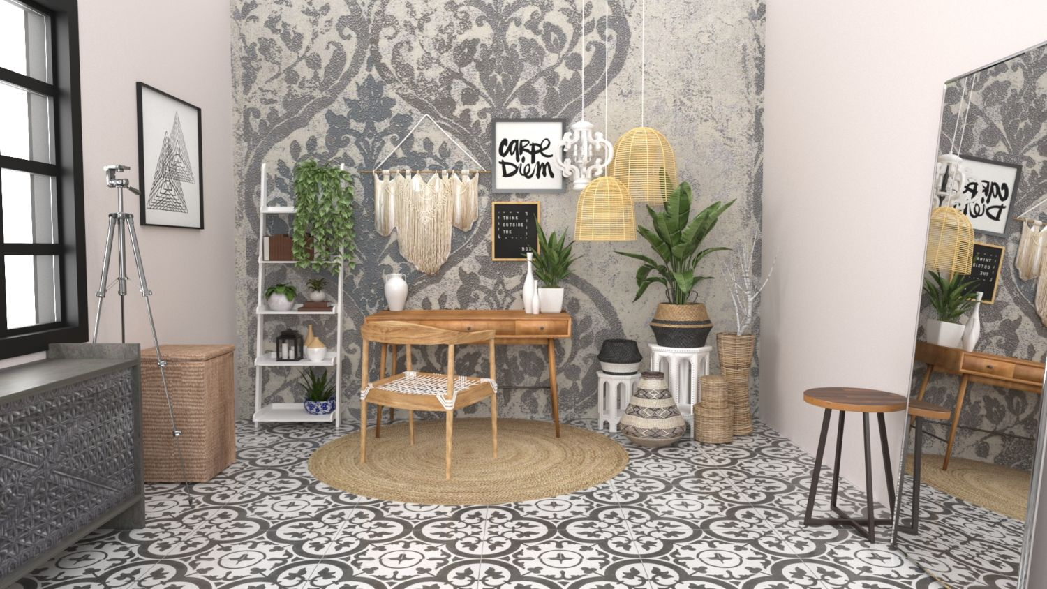Blogger's Desk: Boho Eclectic Design By Spacejoy