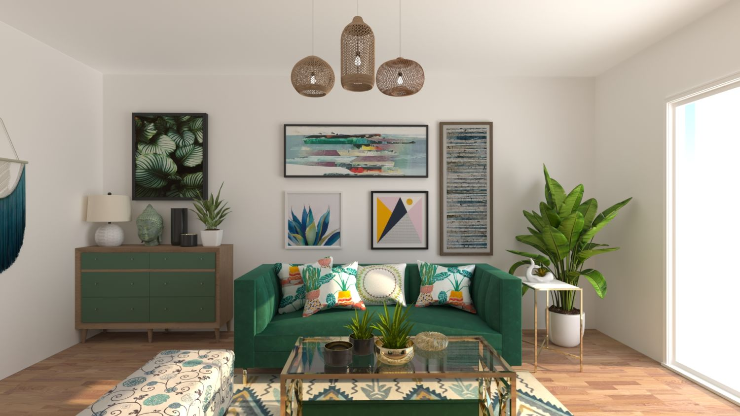 Go Green: Boho Eclectic Living Room Design By Spacejoy