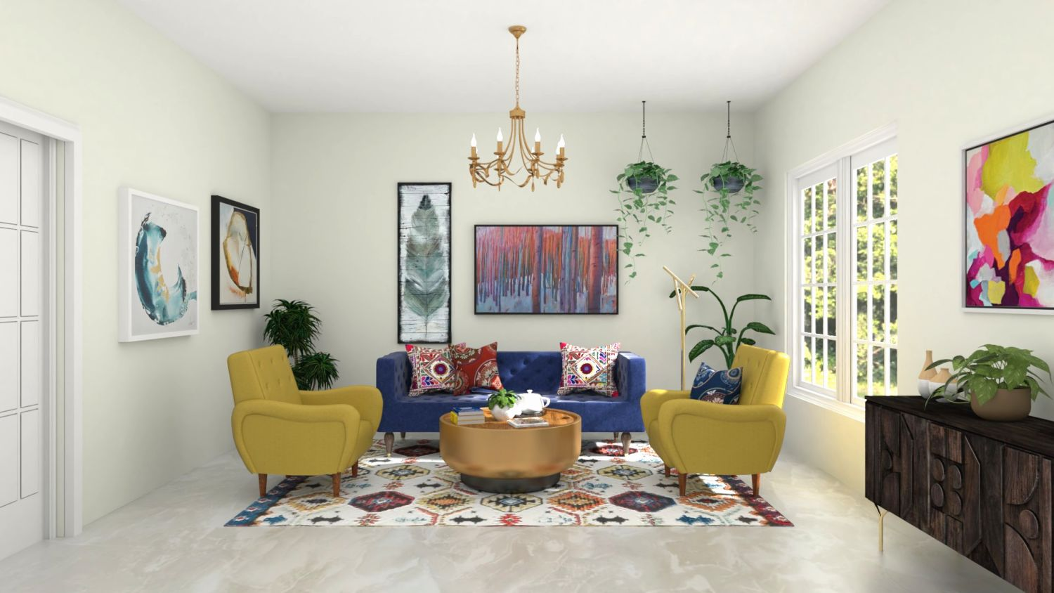 Jewel Tones: Elegant Eclectic Living Room Design By Spacejoy