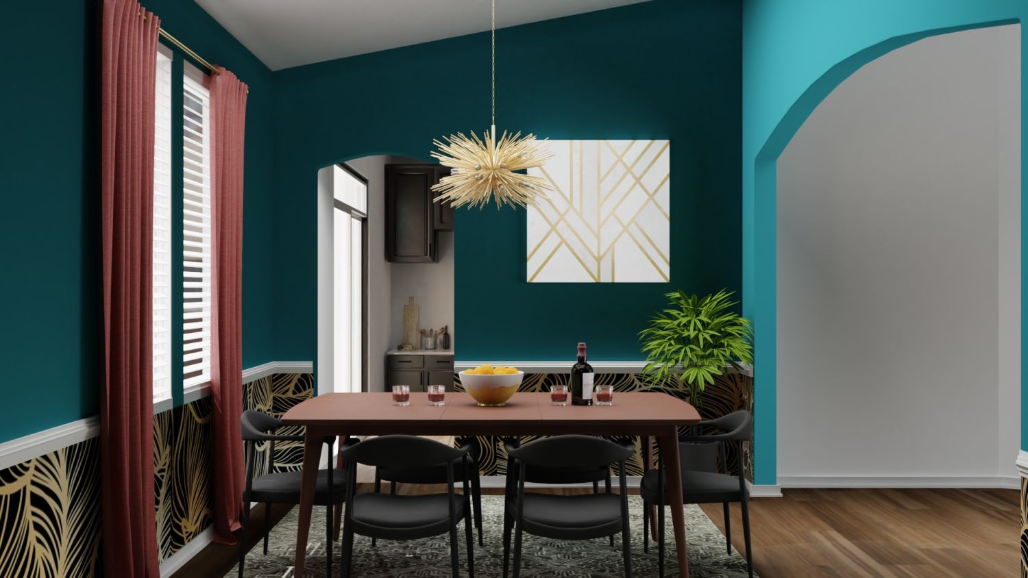 Bold Prints: Mid-Century Eclectic Dining Room Design By Spacejoy