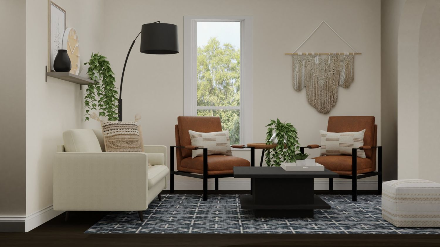 Leather Accent Chairs: Urban Boho Living Room Design By Spacejoy