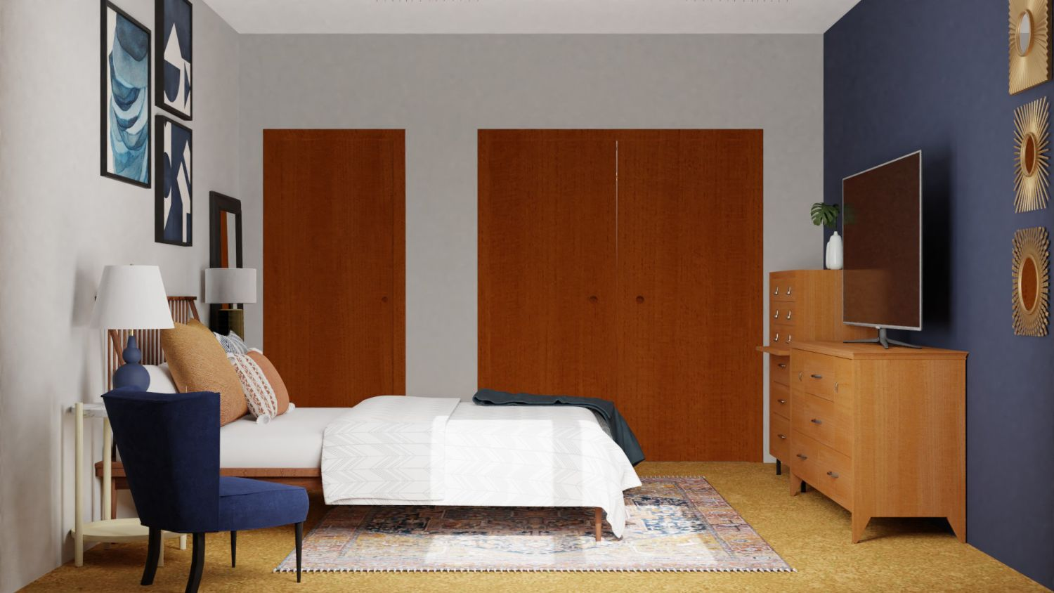 Blues: Mid-Century Retro Bedroom Design By Spacejoy