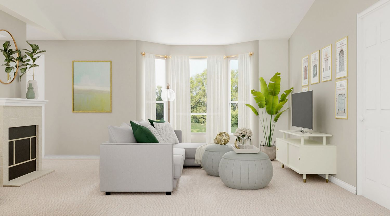 Light and airy furniture for spring in living room