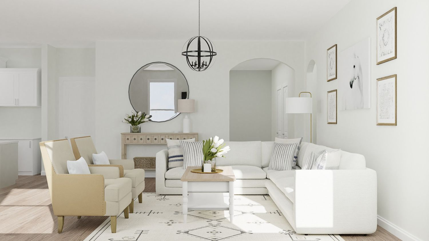 Neutral Tones: Modern Farmhouse Living Room Design By Spacejoy
