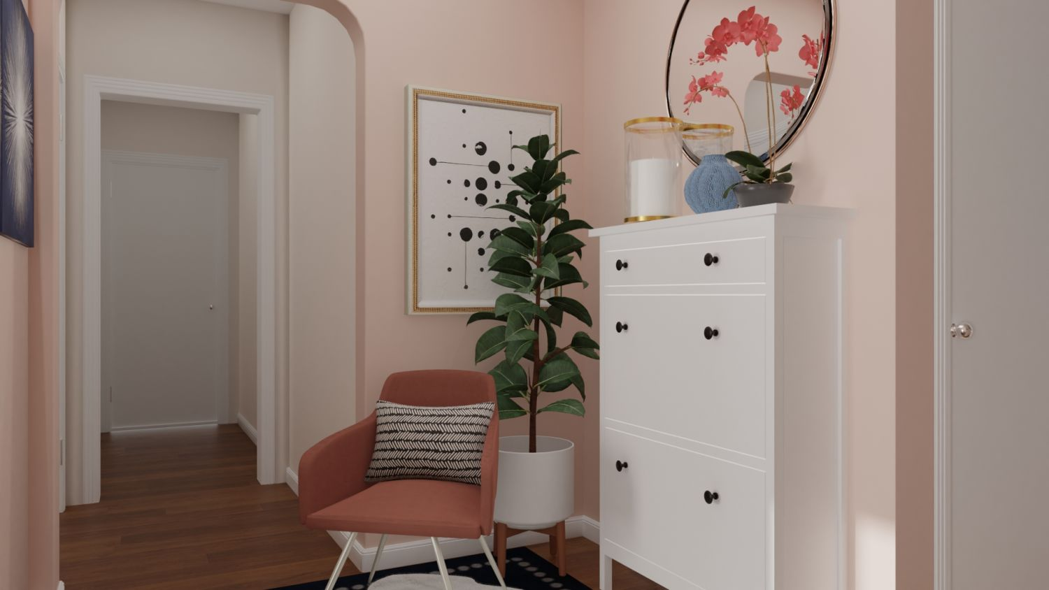 Pink and Feminine: Modern Glam Entryway Design By Spacejoy
