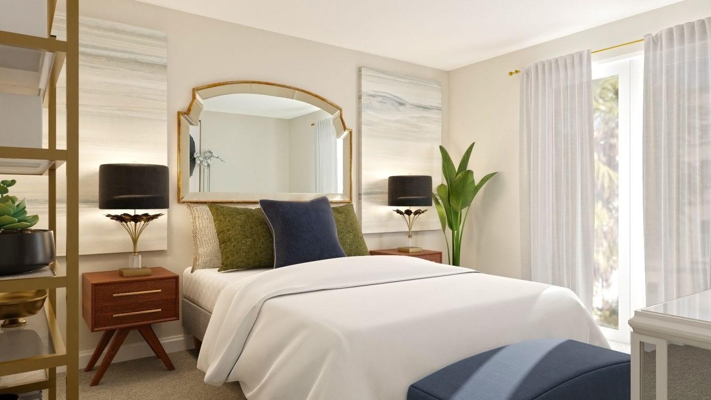 modern bedroom with mirror headboard