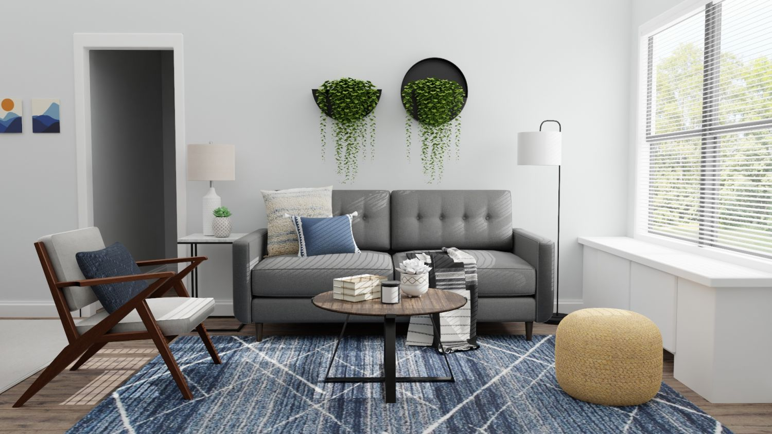 Small Spaces: Mid Century Urban Living Room Design By Spacejoy