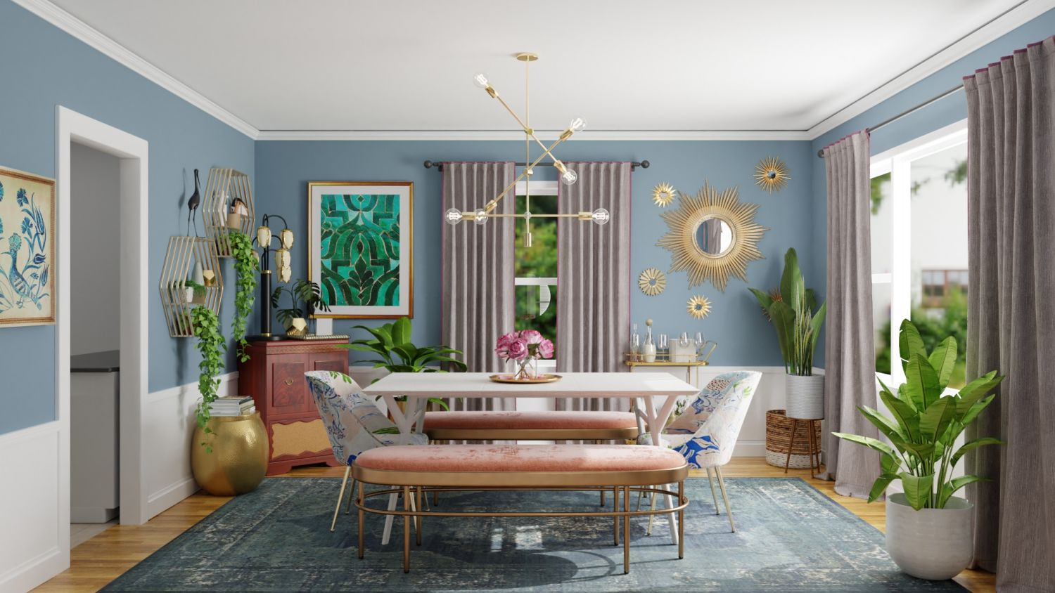 Mixing Vintage Pieces: Eclectic Glam Dining room Design By Spacejoy