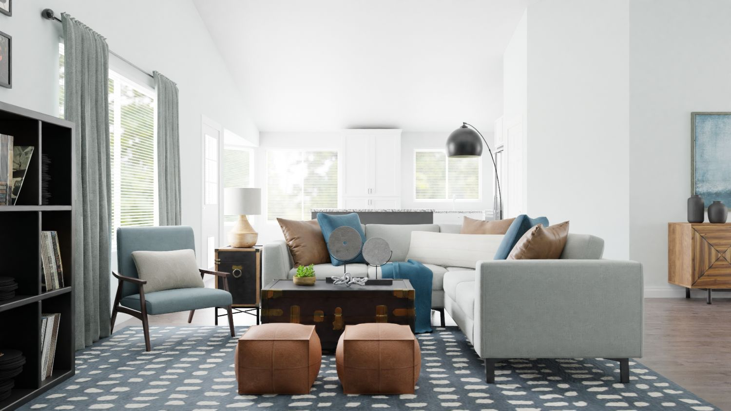 Statement Teal:  Urban Modern Living Room Design By Spacejoy