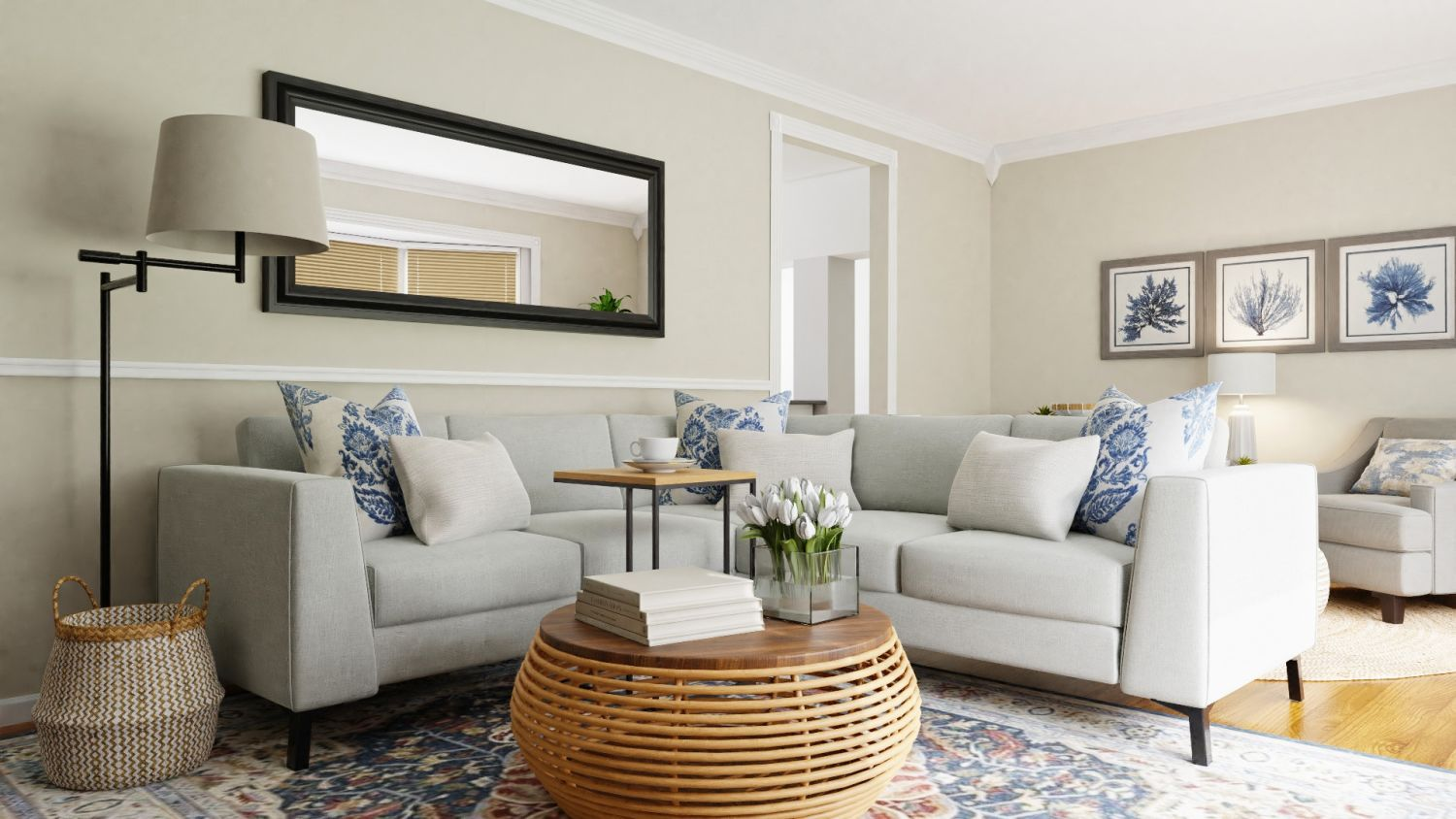 Private Reading Nook: Coastal Transitional Living Room Design By Spacejoy