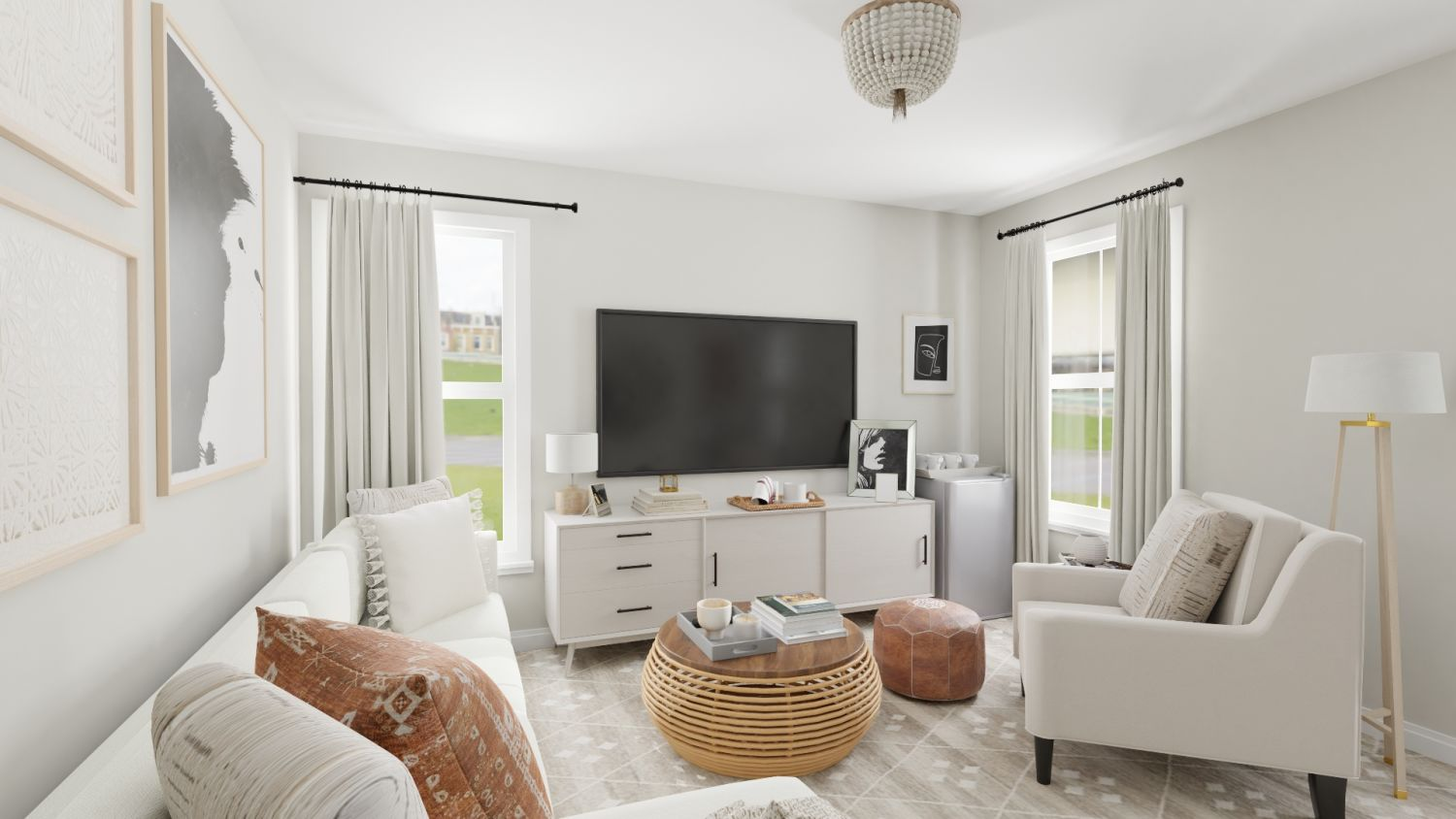 neutral living room with rattan