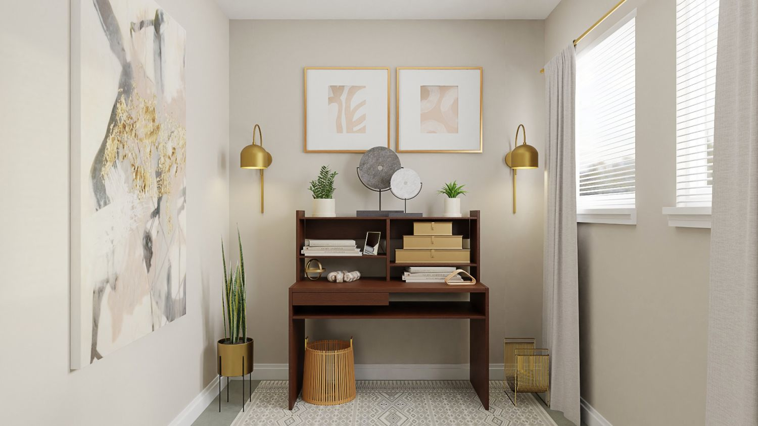 Petite Office:  Modern Glam Home Office Design By Spacejoy