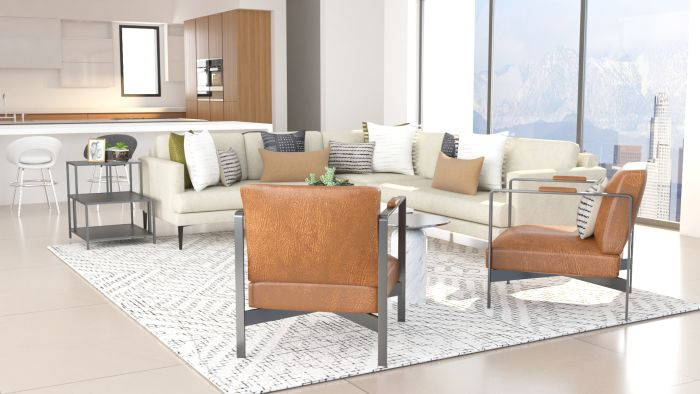 Modern Living Room With Industrial Touches Design View 3 By Spacejoy