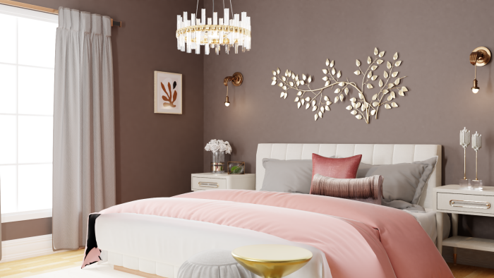 Soothing Pastels: Glam Bedroom Design View 2 By Spacejoy