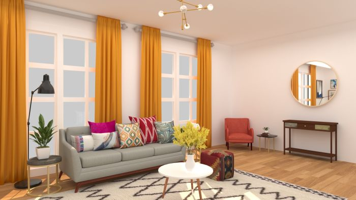 Patterns + Textures: Elegant Eclectic Living Room Design View 4 By Spacejoy