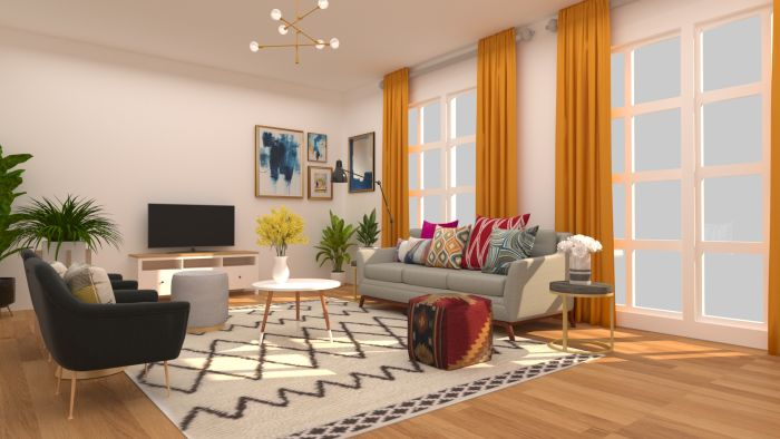 Patterns + Textures: Elegant Eclectic Living Room Design View 2 By Spacejoy