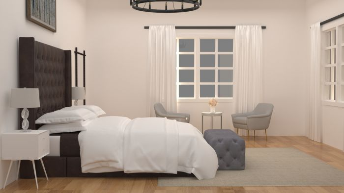 Focal Point Headboard: Modern Transitional Bedroom Design View 3 By Spacejoy