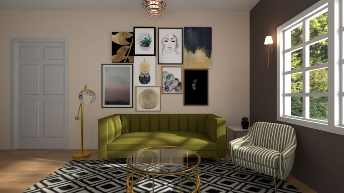 Artwork  Placement: Eclectic Glam Living Room Design View 2 By Spacejoy