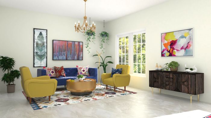 Jewel Tones: Elegant Eclectic Living Room Design View 2 By Spacejoy