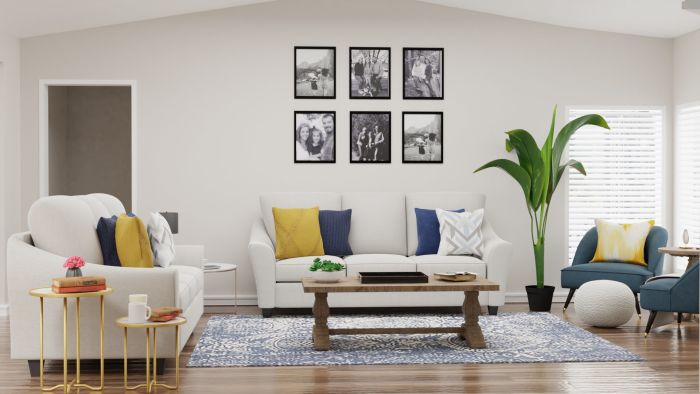 Blue + Yellow Accents: Modern Traditional Living Room Design View 3 By Spacejoy