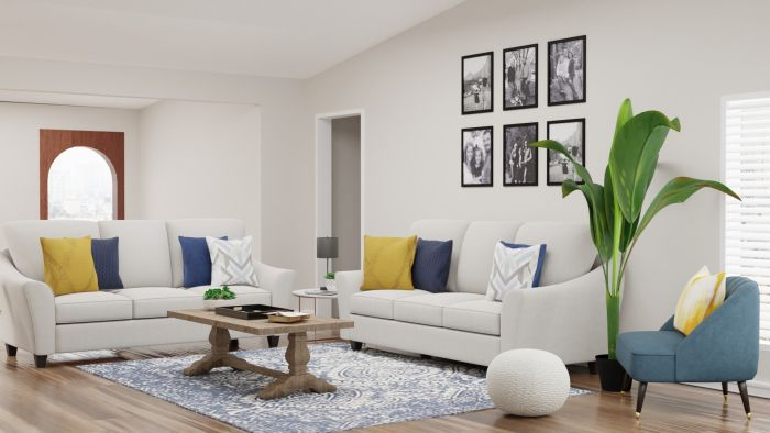 Blue + Yellow Accents: Modern Traditional Living Room Design View 2 By Spacejoy