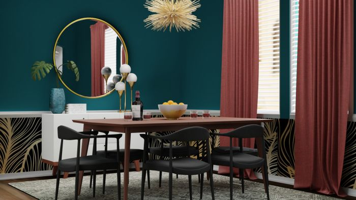 Bold Prints: Mid-Century Eclectic Dining Room Design View 3 By Spacejoy