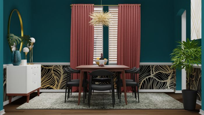 Bold Prints: Mid-Century Eclectic Dining Room Design View 2 By Spacejoy