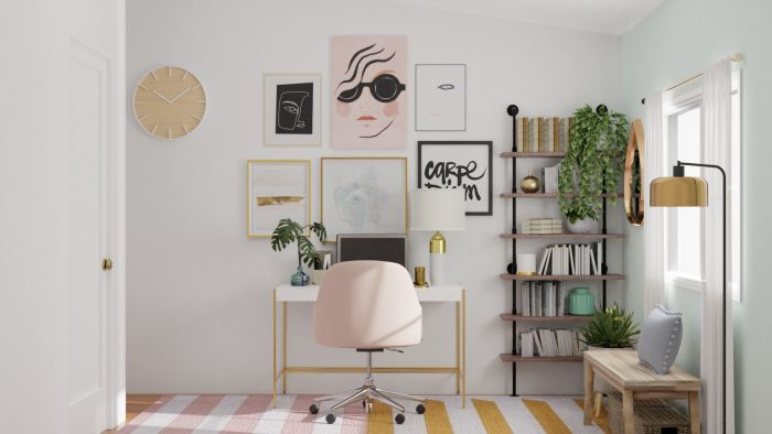 Feminine Office: Elegant Eclectic Design View 3 By Spacejoy