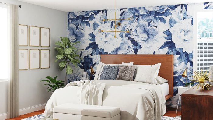 Statement Floral Wallpaper: Mid-Century Contemporary Bedroom Design View 3 By Spacejoy