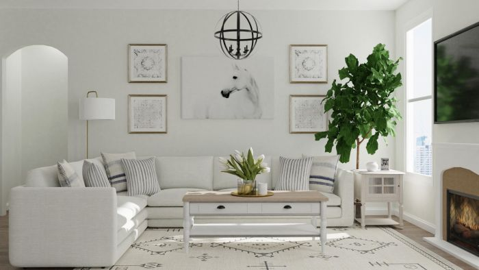 Neutral Tones: Modern Farmhouse Living Room Design View 2 By Spacejoy
