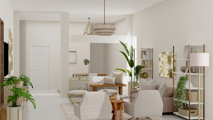 Light and Airy Pastel Accents:  Mid-Century Glam Living Room Design View 2 By Spacejoy