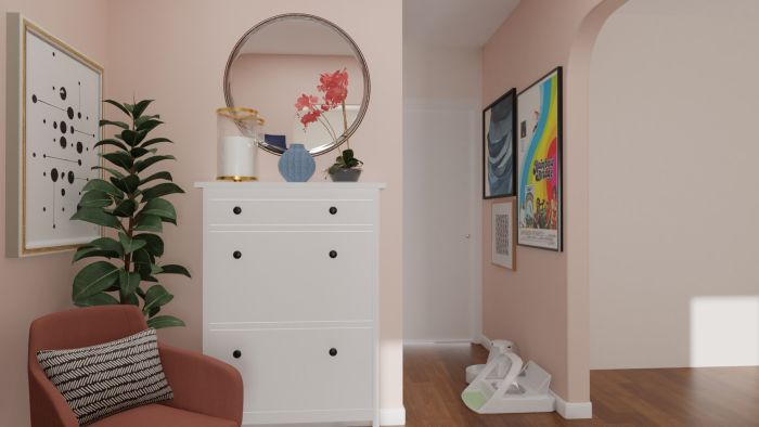Pink and Feminine: Modern Glam Entryway Design View 2 By Spacejoy