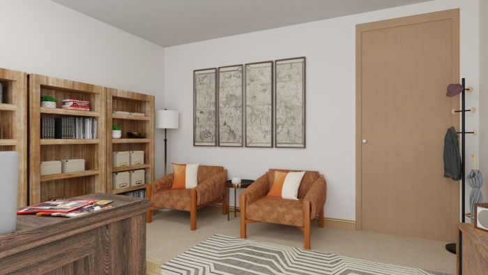 Cocoa-Colored: Modern Rustic Home Office Design View 4 By Spacejoy