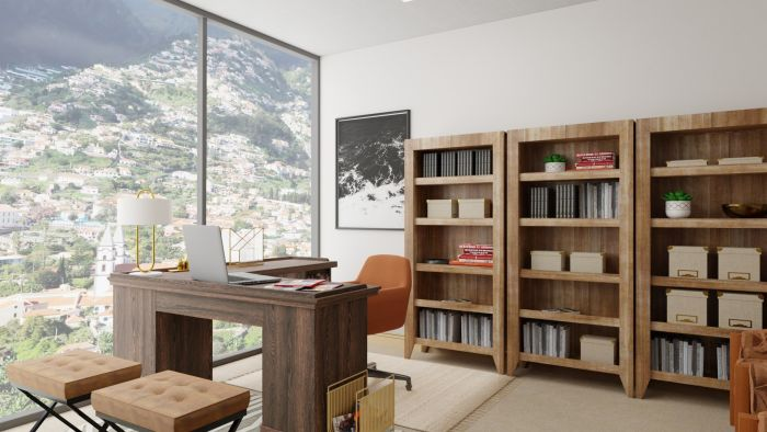 Cocoa-Colored: Modern Rustic Home Office Design View 5 By Spacejoy