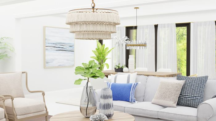 Light Fabrics and Spring Textiles: Transitional Coastal Living Room Design View 3 By Spacejoy