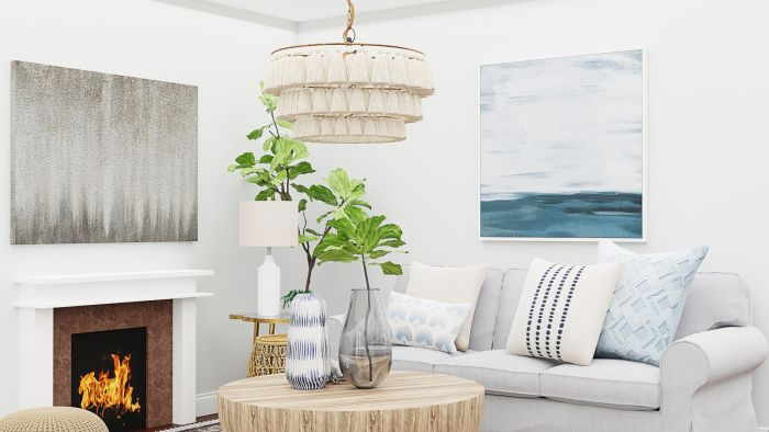 Light Fabrics and Spring Textiles: Transitional Coastal Living Room Design View 4 By Spacejoy