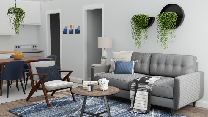 Small Spaces: Mid Century Urban Living Room Design View 2 By Spacejoy
