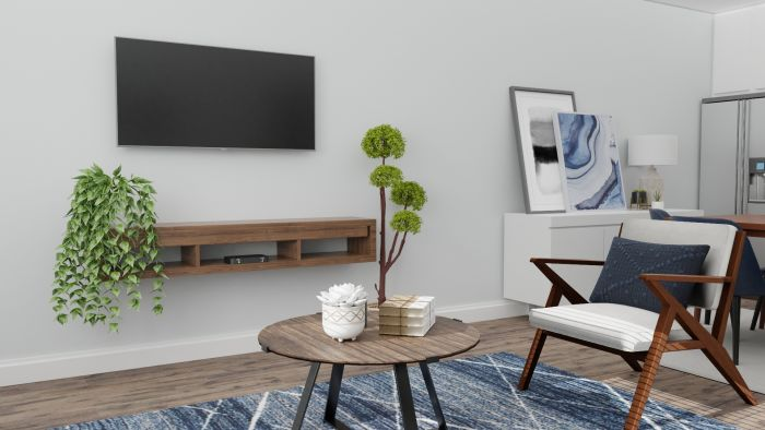 Small Spaces: Mid Century Urban Living Room Design View 3 By Spacejoy