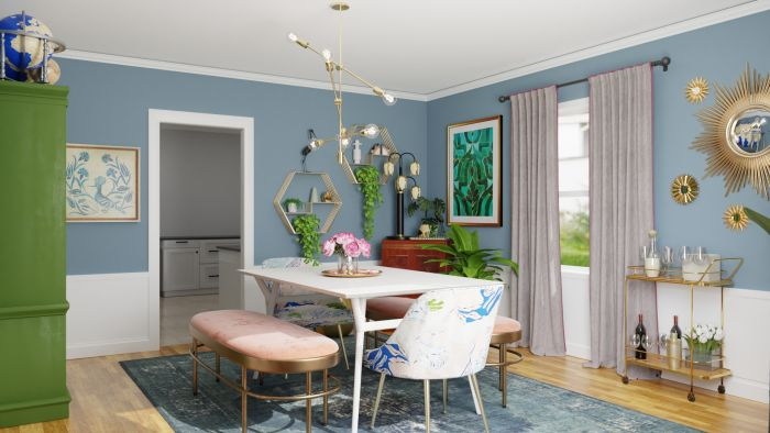 Mixing Vintage Pieces: Eclectic Glam Dining room Design View 5 By Spacejoy